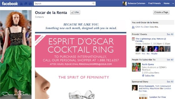 De La Renta Launches F-Commerce