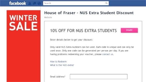 House of Fraser's Facebook App