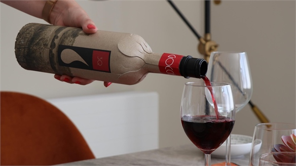 Wine Bottles Made from Recycled Cardboard